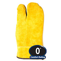 0216 Three-Finger Leather Mitt, For temperatures to 0F/-17C