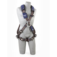 1113097 Cross Over Style Harness with aluminum front, back and side D-rings and locking quick connect buckle