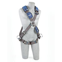 1113112 Cross Over Style Harness with aluminum front, back and side D-rings and locking quick connect buckle