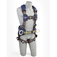 1113130 Construction Style Harness with aluminum back and side D-rings, locking quick connect buckles