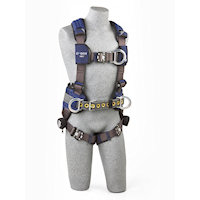 1113160 Construction Style Harness with aluminum front, back and side D-rings, locking quick connect buckles