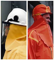 Neckcloths: Neckcloths For attachment to a safety helmet to provide neck protection from chemical splashes from above.