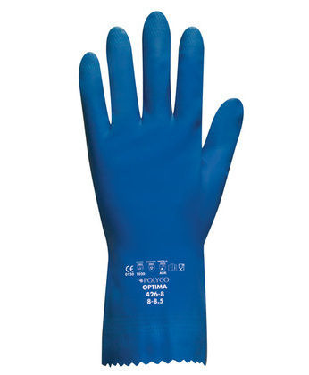 Optima Mediumweight Natural Rubber Glove - Flock Lined