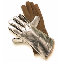 Thermal protection gloves - Hot: Sebatan Leather/Aluminium Coated Glove Radiation heat upto 1000<SUP>o</SUP>C / Contact heat upto 250<SUP>o</SUP>C