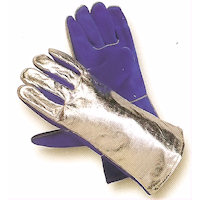 Thermal protection gloves - Hot: Sebatan Leather/Aluminium Coated Glove Radiation heat upto 800<SUP>o</SUP>C / Contact heat upto 250<SUP>o</SUP>C