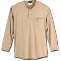 Tops: WR-270BC55 5.5 oz Knit Blend Henley Shirt