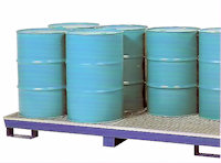 31-1134 4-drum in-line steel spill pallet, painted