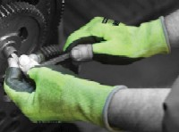 Coated cut protection gloves: Matrix® Green PU Fingerless Knitted High Cut Resistant Liner with Polyurethane Palm Coating